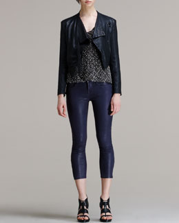 HELMUT Helmut Lang Washed Leather Cropped Jacket, Caged Boucle Sweater & Halo High-Gloss Coated Skinny Pants