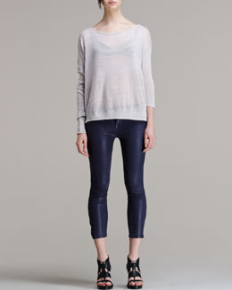 HELMUT Helmut Lang Slouchy Striped Knit Pullover and Halo High-Gloss Cropped Skinny Pants