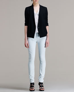 HELMUT Helmut Lang Scrunch-Sleeve Suiting Blazer, Electra Long-Sleeve Pocket Tee & Arctic Wash Straight-Leg Jeans