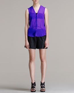 HELMUT Helmut Lang Ghost Sheer Silk Top and Washed Leather Shorts