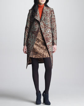 Carven Spotted Felt Coat, Skirt & Long-Sleeve Turtleneck