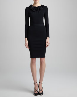 Valentino Rose Applique Long-Sleeve Top & Tubino Pencil Skirt
