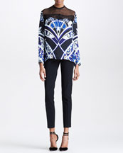 Emilio Pucci Lace-Yoke Blouse & Straight-Leg Ankle Pants