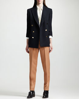 Stella McCartney Double-Breasted Blazer, Metallic and Chevron-Striped Blouse & Wool Twill Ankle-Pants