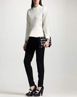 Stella McCartney Back-Zip Peplum Top & Slim Tropical Wool Pants