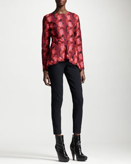 Stella McCartney Scallop-Hem Lace Top & Ankle-Zip Skinny Pants