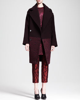 Stella McCartney Boxy Bi-Fabric Coat & Cropped Flower-Feather Jacquard Pants