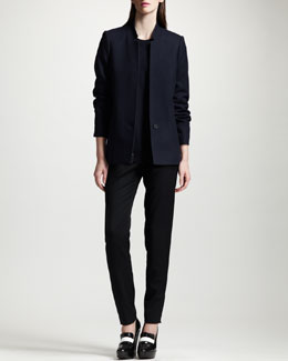 Stella McCartney Inverted-Lapel Blazer, Beaded Crewneck Sweater & Slim Tropical Wool Pants