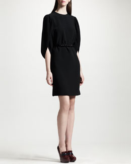 Stella McCartney Tulip-Sleeve Cady Shift Dress & Crystal Belt