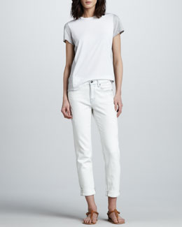 Vince Colorblock-Sleeve Tee & Distressed Relaxed Cropped Jeans