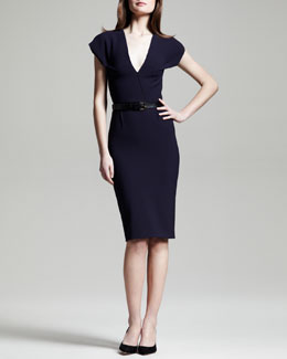 Roland Mouret Afyon Stretch Wool Sheath Dress & Alnatt Leather Belt