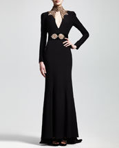 Alexander McQueen Embroidered Long-Sleeve Crepe Gown & Crystal-Embellished Wide Belt