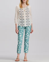 Tory Burch Lucille Embroidered Voile Tunic & Walton Paisley-Print Pants