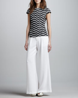 Alice + Olivia Keiko Sequin-Stripe Top & Eric Wide-Leg Gabardine Pants