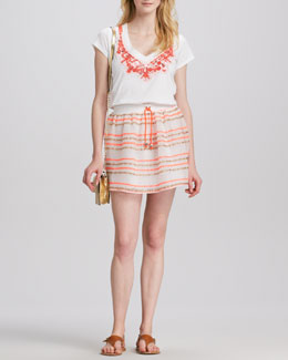 Milly Skyler Beaded Tee & Paige Drawstring Skirt