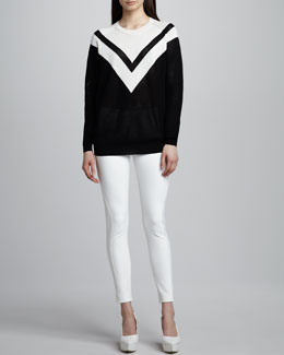 Stella McCartney Chevron Mesh Sweater and Back-Zip Leggings