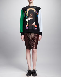 Givenchy American Dream Sweatshirt and Ruffle-Front Leather Skirt