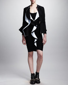 Givenchy Ruffle-Front Peplum Zip Jacket and Ruffle-Front Jersey Dress