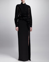 Givenchy Sheer-Back Tuxedo Blouse and Ruffled Waist Long Skirt