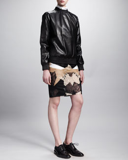 Givenchy Pullover Leather Sweatshirt, Collar-Stay Blouse & Patchwork Lace Pencil Skirt