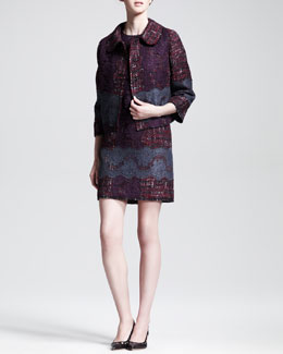 Dolce & Gabbana Lace-Embroidered Tweet Swing Jacket and Lace-Embroidered Tweed Shift Dress