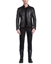 Belstaff Weybridge Leather Bomber Jacket, Crew Neck Moto Sweater & Blackrod Moto Jeans