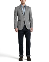 Ermenegildo Zegna Soft Melange Two-Button Blazer, Long-Sleeve Plaid Sport Shirt & Dark Indigo Jeans