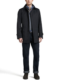 Ermenegildo Zegna City Coat, Quarter-Zip Waffle Sweater, Mini-Gingham Sport Shirt & Dark Indigo Jeans