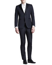Lanvin Cut-Collar Smoking Jacket, White Evening Shirt & Evening Trousers