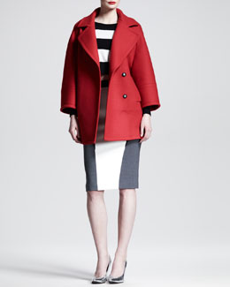 Aquilano.Rimondi Red Jacket with Oversized Lapels, Long-Sleeve Top & Colorblock Pencil Skirt