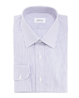 Brioni Check Dress Shirt & Textured Silk Tie