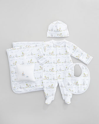 Noah's Island Baby Hat, Baby Footie Playsuit, Baby Bib, Baby Blanket & Musical Pillow