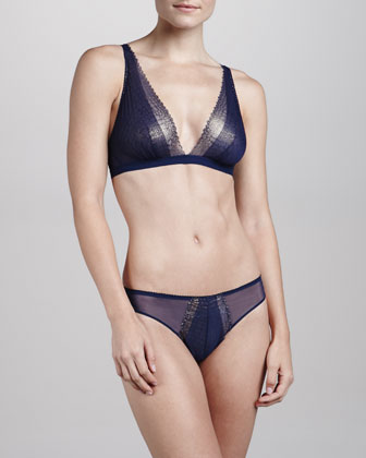 Cleope Soft Triangle Bra & Minikini Briefs, Navy/Gold