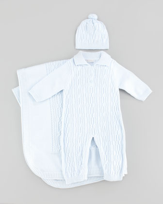 Braided Cable-Knit Hat, Playsuit & Blanket