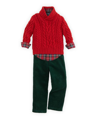 Aran-Knit Shawl-Collar Sweater, Blake Tartan Plaid Shirt & Preston Corduroy Pants