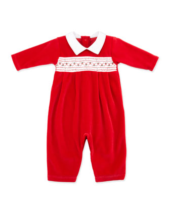 Holiday Velour Playsuit, Red
