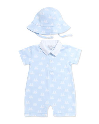 Twin Bunnies Knit Short-Playsuit & Floppy Hat