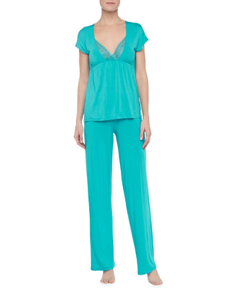 Antoinetta Short-Sleeve Shirt & Pajama Pants