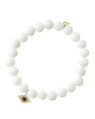 8mm Faceted White Agate Beaded Bracelet & 14k Yellow Gold/Diamond Small Evil Eye Charm (Made ...