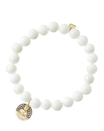 8mm Faceted White Agate Beaded Bracelet with 14k Gold/Diamond Sitting Buddha Charm (Made to ...