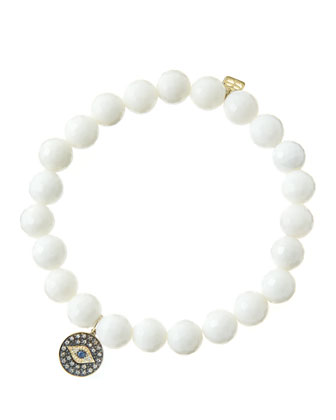 8mm Faceted White Agate Beaded Bracelet with 14k Gold/Rhodium Diamond Small Evil Eye Charm ...