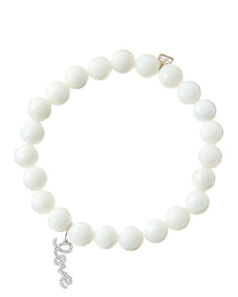 8mm Faceted White Agate Beaded Bracelet with 14k White Gold/Diamond Love Charm (Made to Order) ...