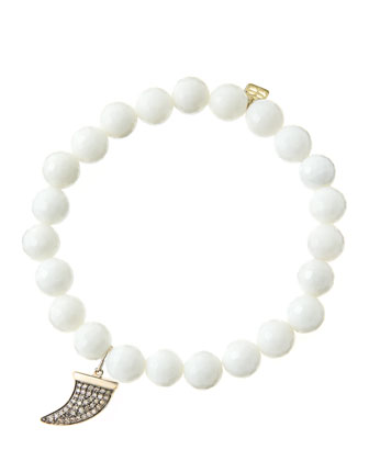 8mm Faceted White Agate Beaded Bracelet with 14k Gold/Diamond Medium Horn Charm (Made to Order) ...
