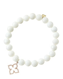8mm Faceted White Agate Beaded Bracelet with 14k Rose Gold/Diamond Moroccan Flower Charm (Made ...