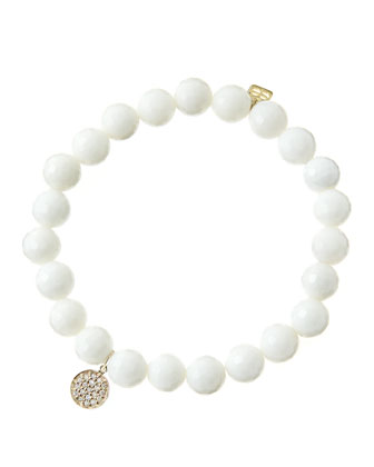 8mm Faceted White Agate Beaded Bracelet with Mini Yellow Gold Pave Diamond Disc Charm (Made ...