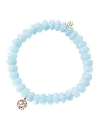 8mm Faceted Aquamarine Beaded Bracelet with Mini Rose Gold Pave Diamond Disc Charm (Made to ...