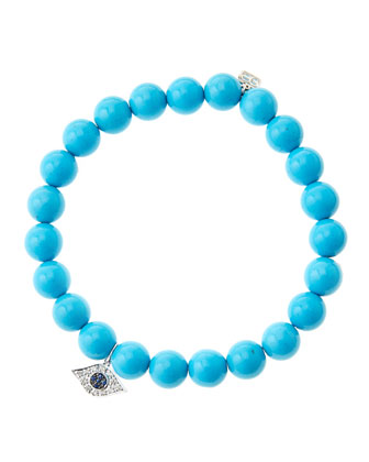8mm Turquoise Beaded Bracelet with 14k White Gold/Diamond Small Evil Eye Charm (Made to Order) ...
