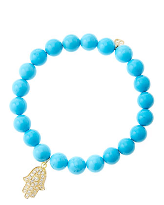 8mm Turquoise Beaded Bracelet with 14k Yellow Gold/Diamond Medium Hamsa Charm (Made to Order)