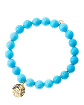 8mm Turquoise Beaded Bracelet with 14k Gold/Diamond Sitting Buddha Charm (Made to Order)