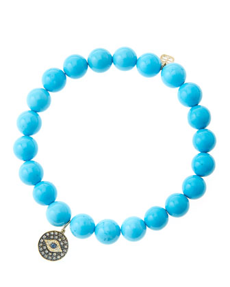 8mm Turquoise Beaded Bracelet with 14k Gold/Rhodium Diamond Small Evil Eye Charm (Made to ...
